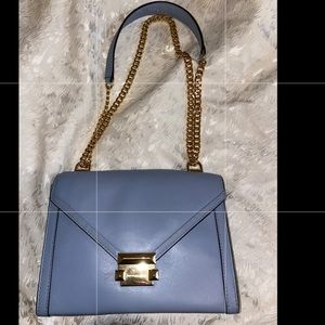 Blue Michael Kors Crossbody with Gold Chain